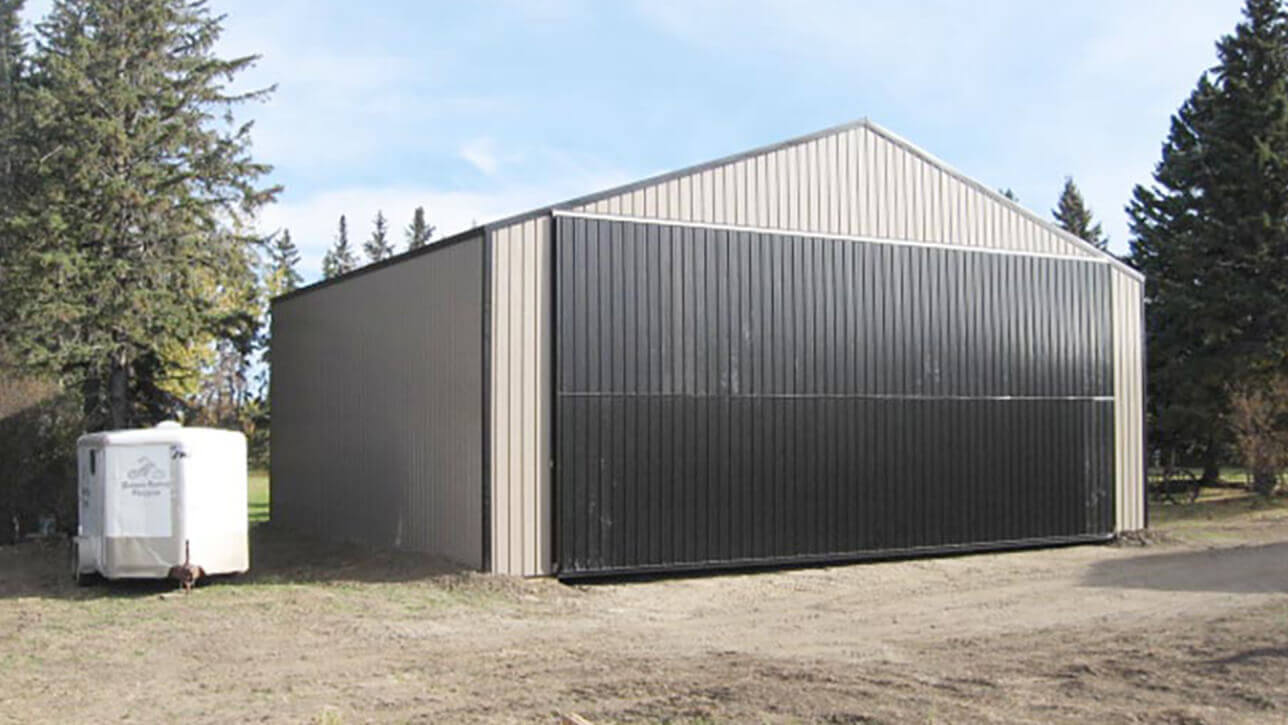 custom-building-airplane-hangar-exterior-westlock-black-brown